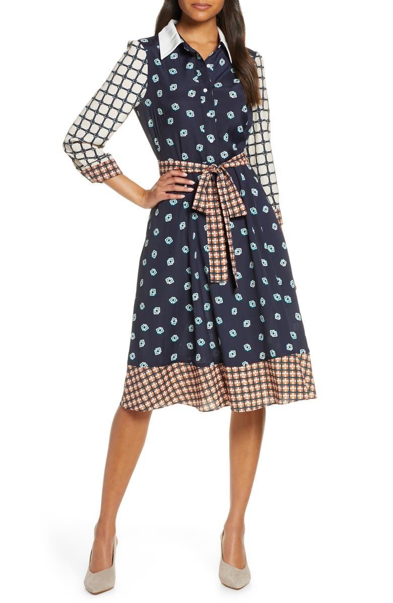 ELIZA J Geo Print Belted Shirtdress, Main, color, NAVY