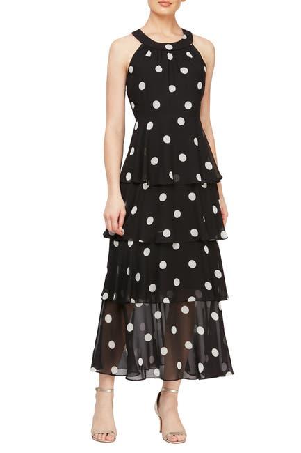 Image of SLNY Tiered Polka Dot Maxi Dress