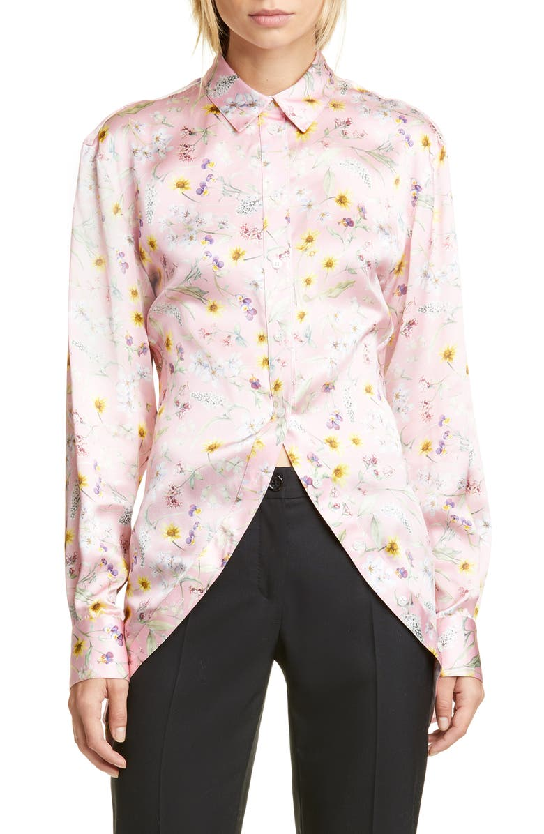 Y/PROJECT Floral Print Silk Shirt, Main, color, 650