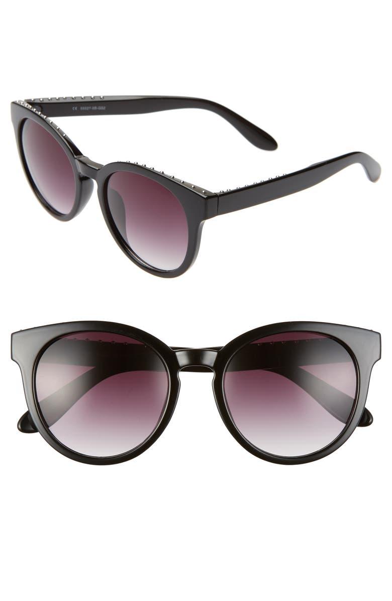 BP. 50mm Gradient Studded Round Sunglasses, Main, color, BLACK