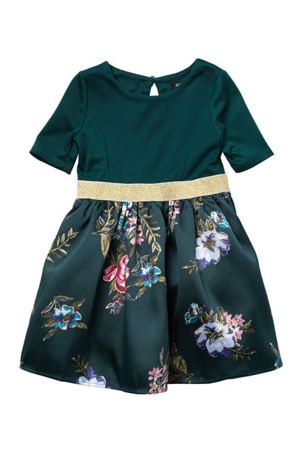 Image of Zunie Elbow Length Sleeve Floral Dress