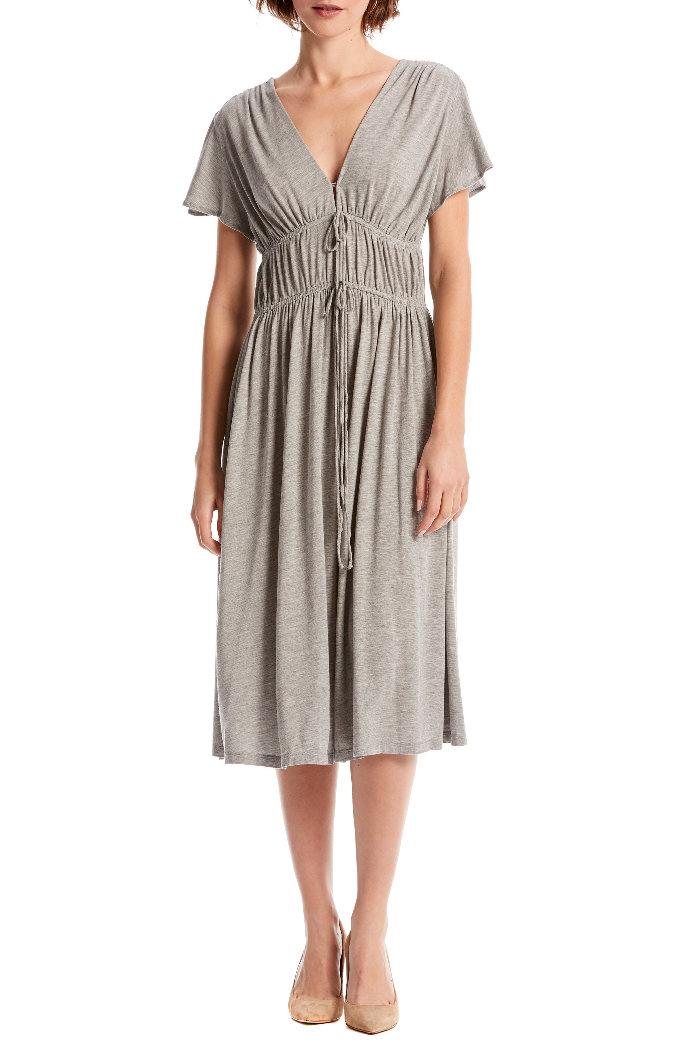 Michael Stars Dhalia Tie Front Dress, Grey