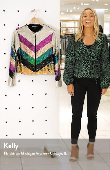 Guest List Sequin Colorblock Jacket, sales video thumbnail