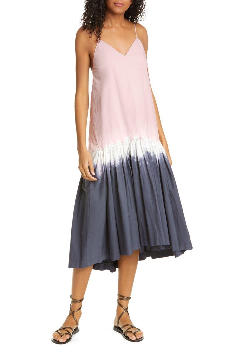SEA Zelda Tie Dye Stretch Cotton Midi Dress, Main, color, CHARCOAL