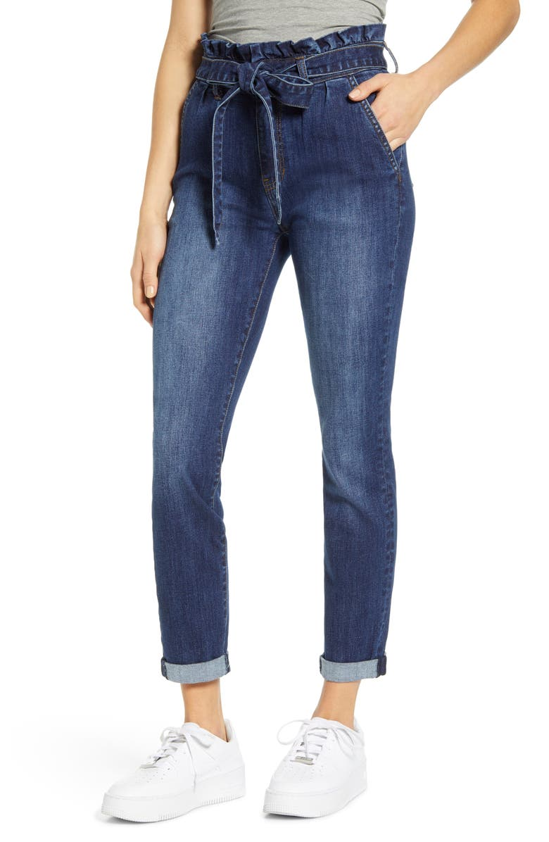 MADE IN BLUE High Paperbag Waist Ankle Skinny Jeans, Main, color, 469