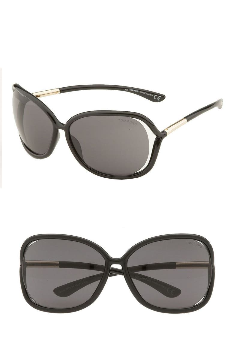 TOM FORD Raquel 63mm Oversized Open Side Sunglasses, Main, color, 001