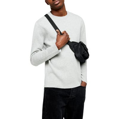 Topman Double Face Crewneck Sweater, Grey