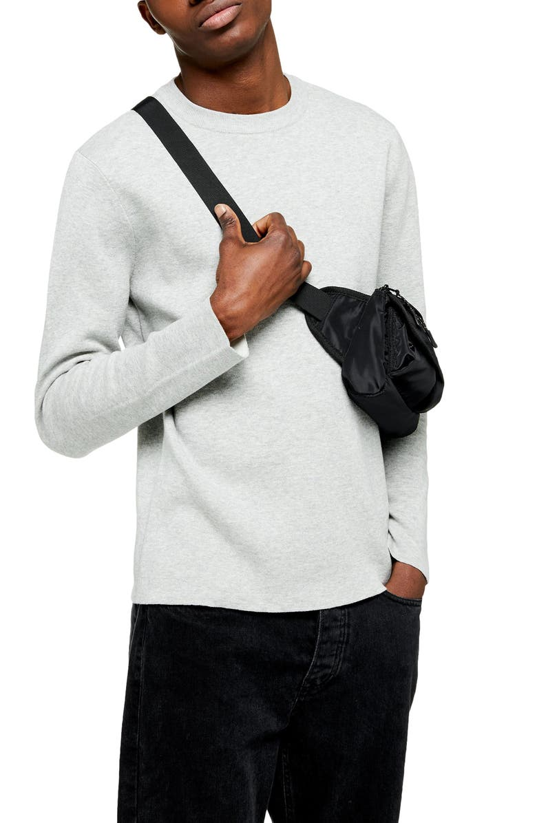 TOPMAN Double Face Crewneck Sweater, Main, color, GREY