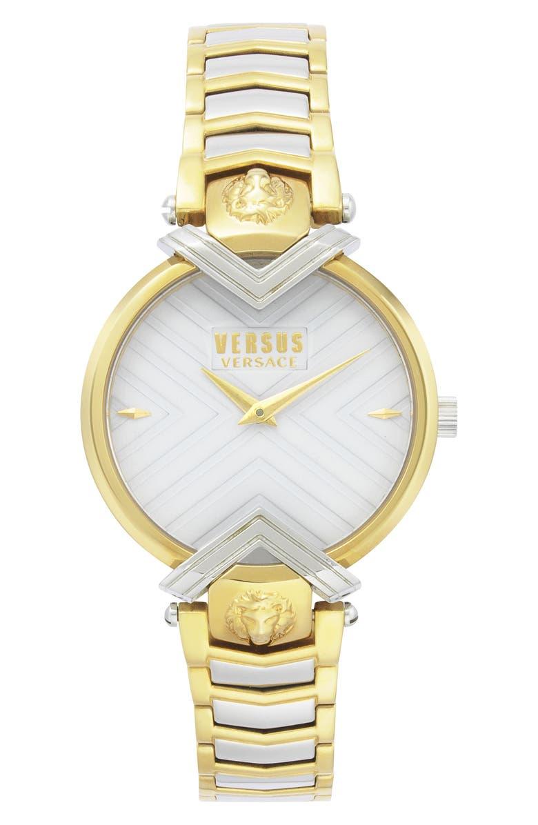 VERSACE VERSUS Versace Mabillon Bracelet Watch, 36mm, Main, color, SILVER/ WHITE/ SILVER