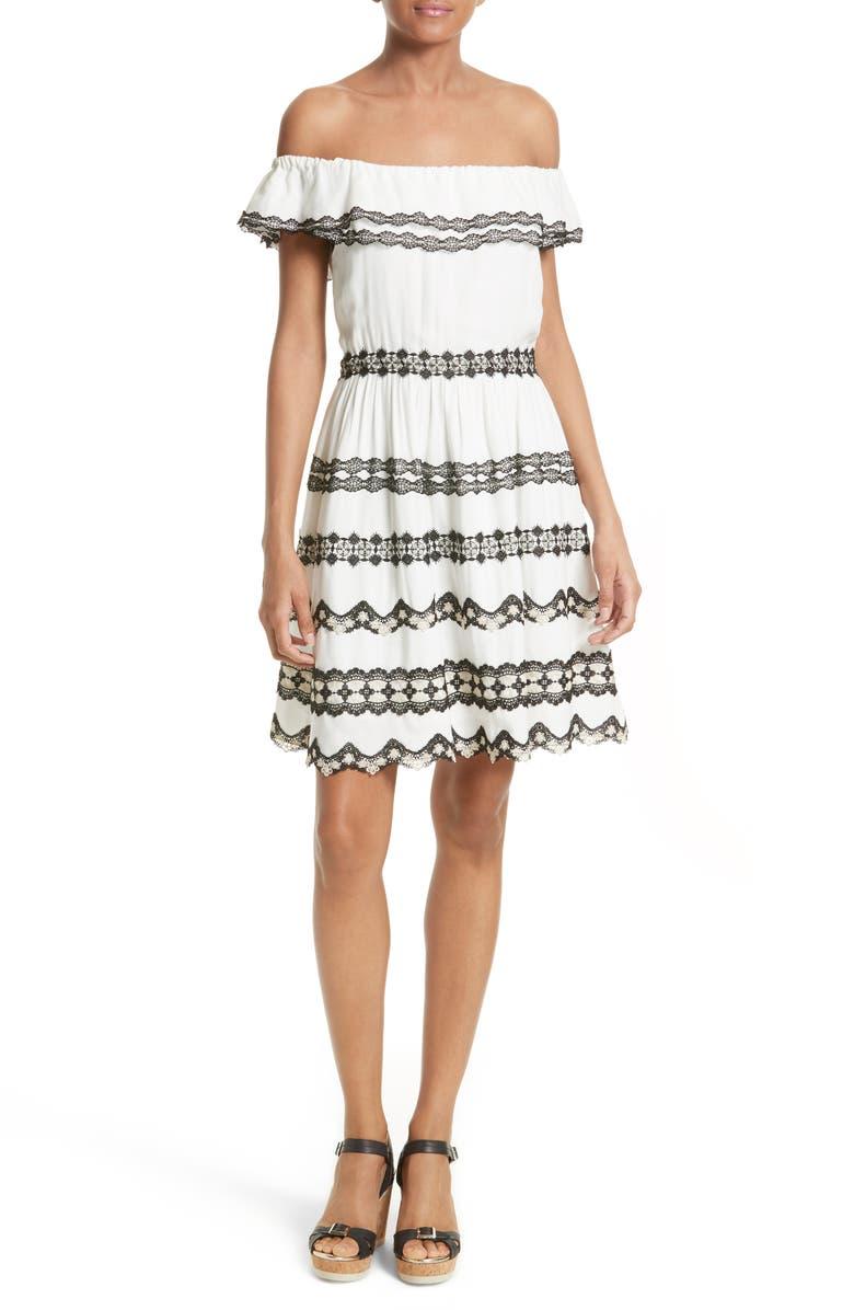 ALICE + OLIVIA Rozzi Off the Shoulder Dress, Main, color, 900