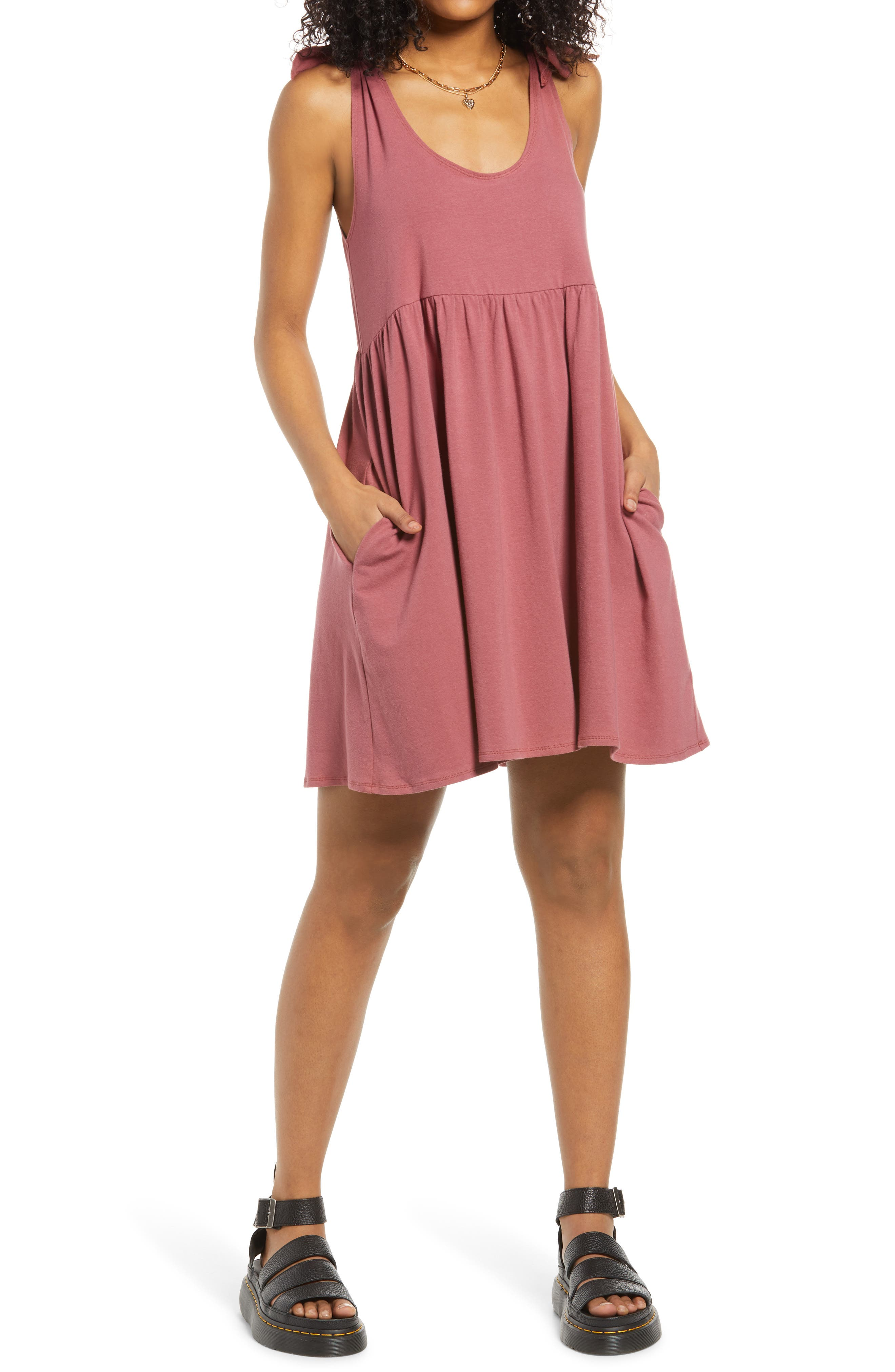 Don'T Worry Tie Shoulder Babydoll Dress