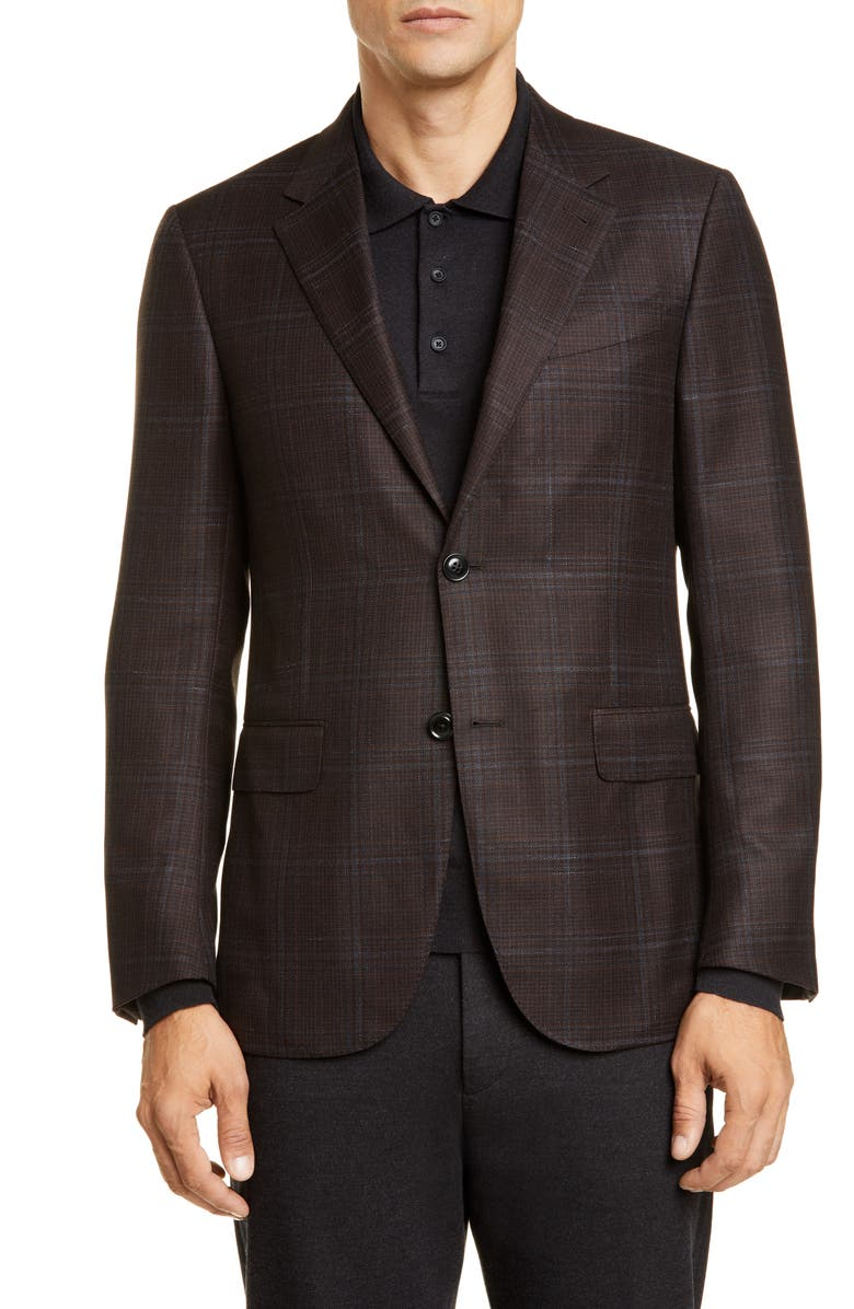 ERMENEGILDO ZEGNA Ermenegildo Zenga Milano Easy Classic Fit Plaid Wool Sport Coat, Main, color, BROWN