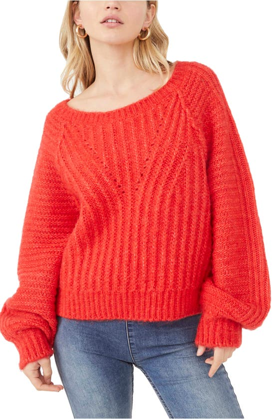 Free People Carter Pullover Sweater In Red Hot