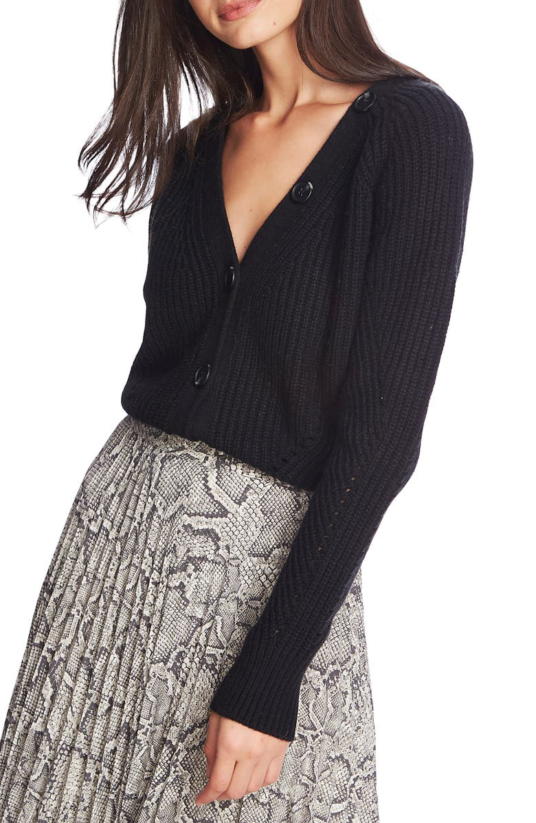 1.STATE Shaker Stitch Crop Cotton Blend Cardigan, Main, color, RICH BLACK