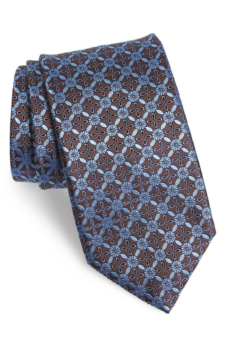 CANALI Geometric Flower Silk Tie, Main, color, BROWN