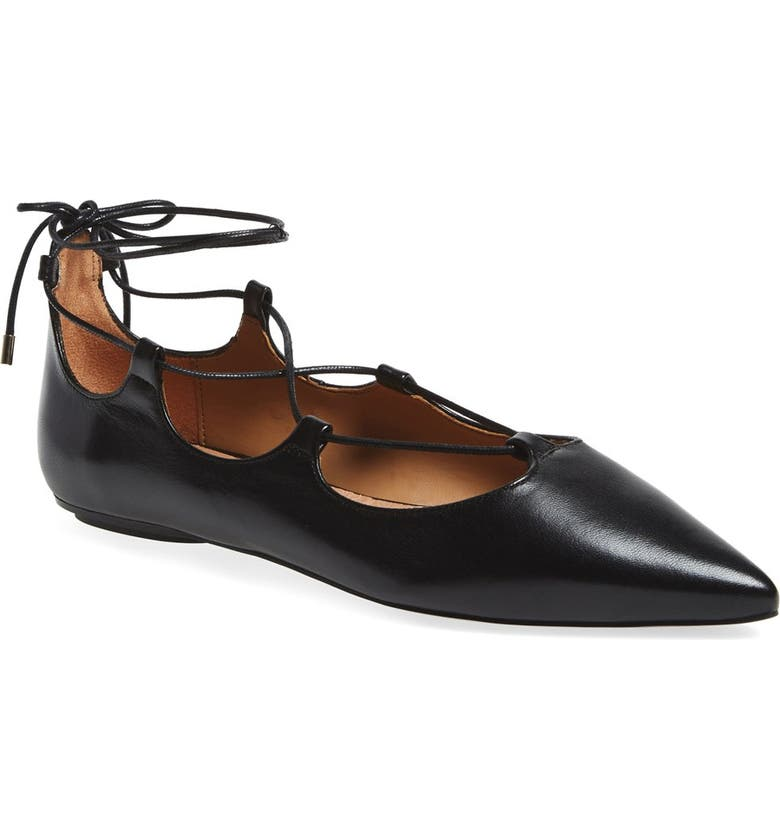 TOPSHOP 'Leather Kingdom' Pointy Toe Flat, Main, color, 001