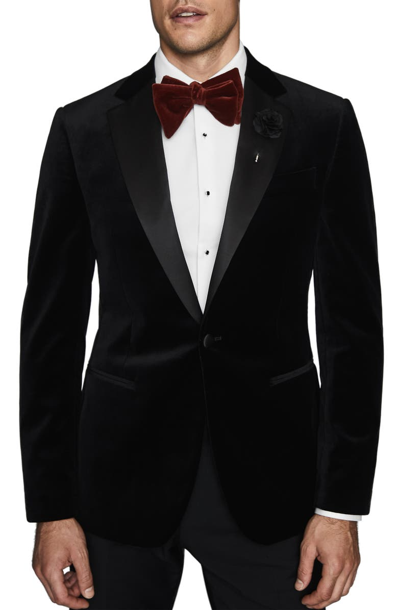 REISS Ace Slim Fit Velvet Blazer, Main, color, 001