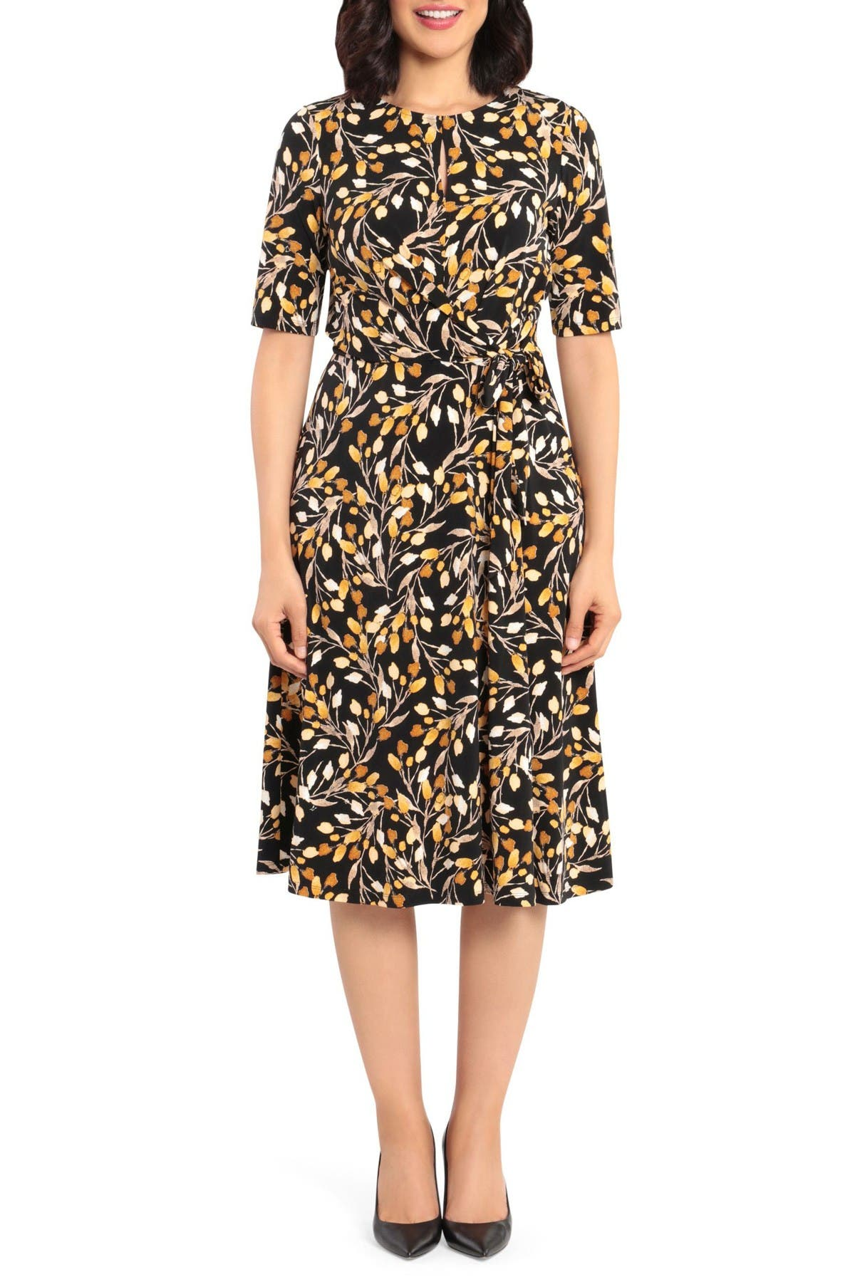 Image of London Times Printed Fit & Flare Dress