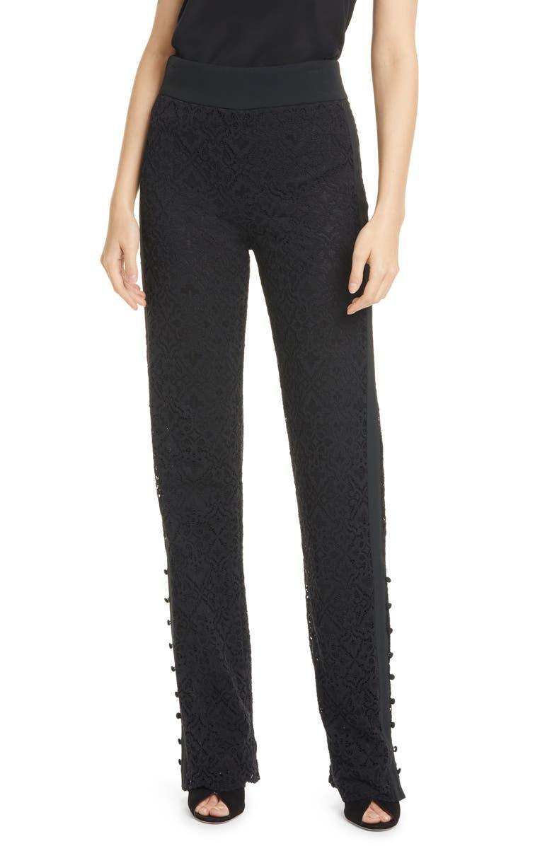 JONATHAN SIMKHAI Multimedia Lace Pants, Main, color, BLACK