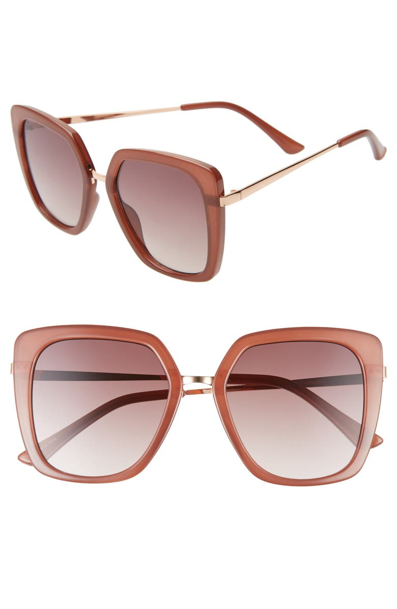 BP. 53mm Square Sunglasses, Main, color, MILKY AMBER