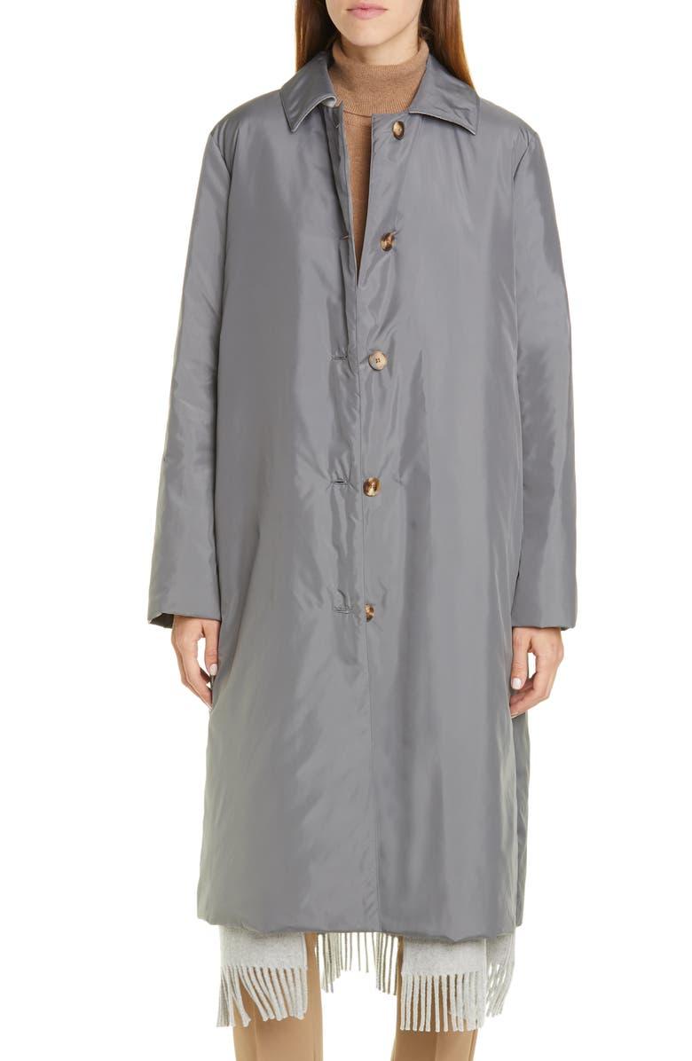 LAFAYETTE 148 NEW YORK Dalida Fringe Hem Cashmere Lined Down Coat, Main, color, ROCK