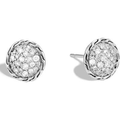 John Hardy Chain Classic Pave Diamond Stud Earrings