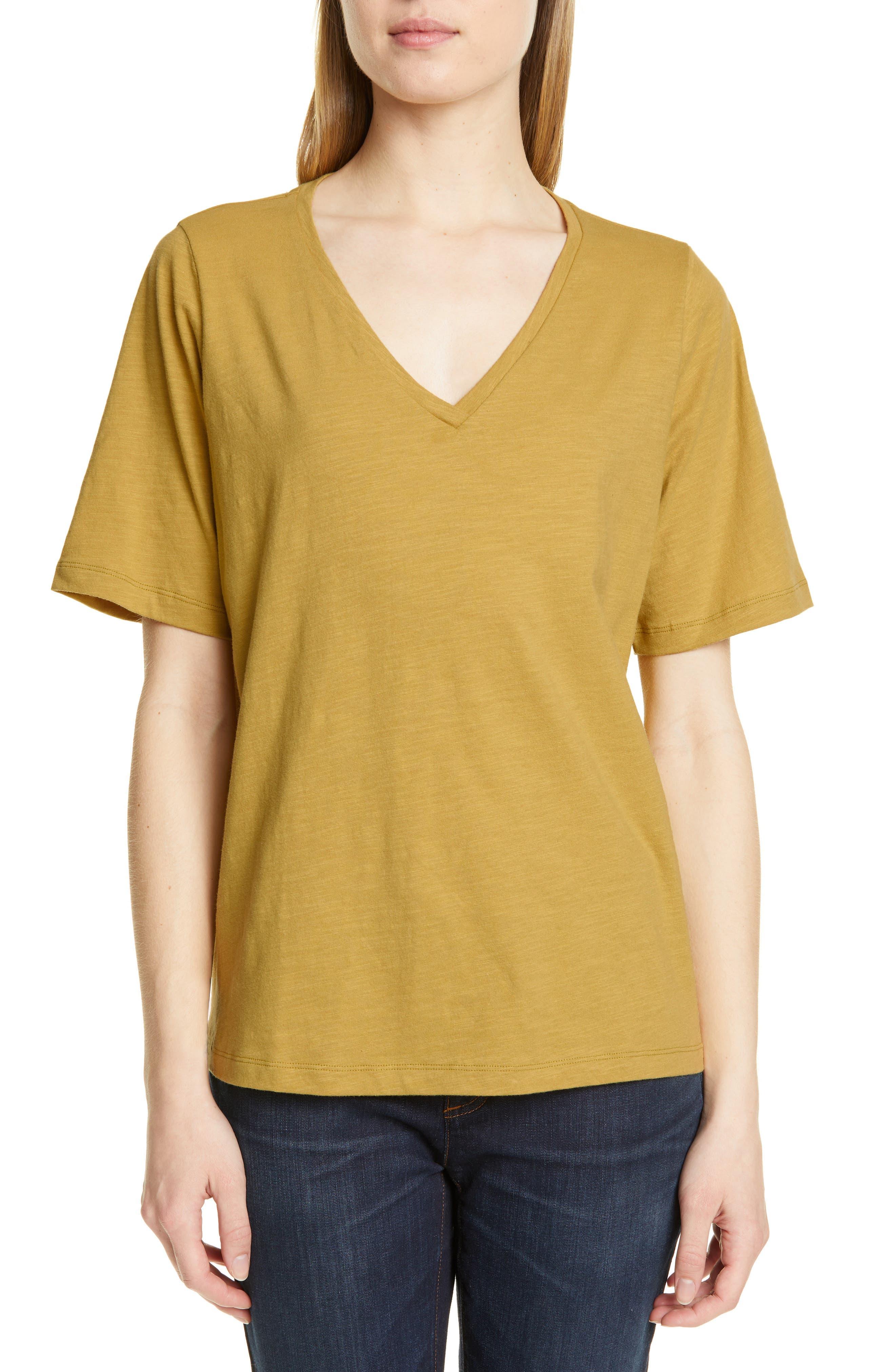 Eileen Fisher V-Neck Organic Cotton Tee, Green