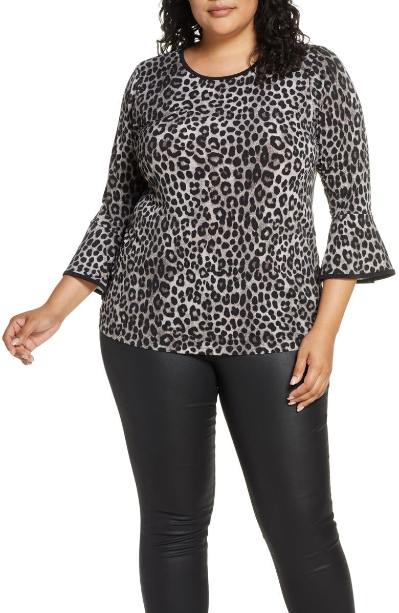 MICHAEL MICHAEL KORS Cheetah Print Flare Sleeve Top, Main, color, GUNMETAL