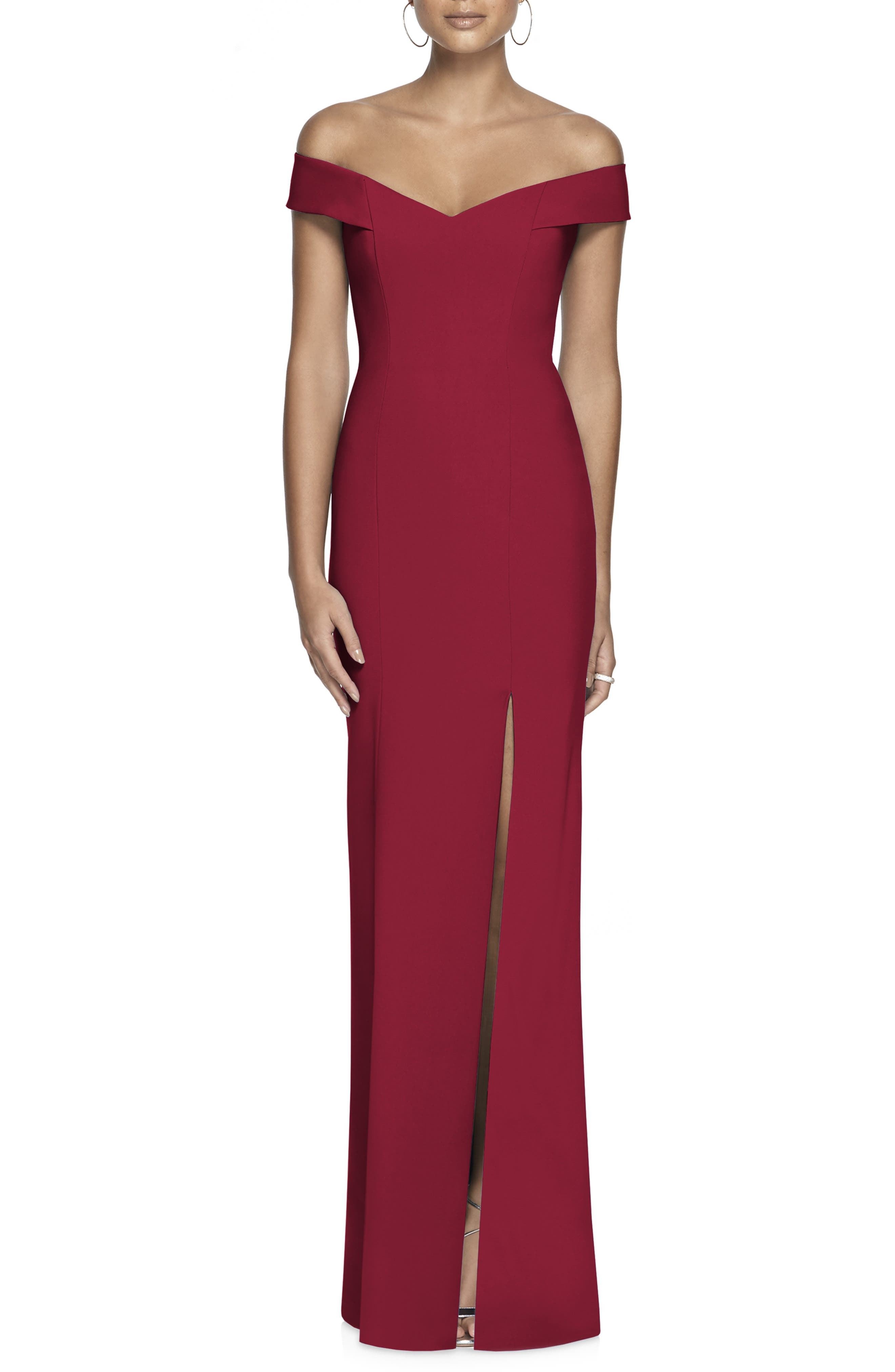 Dessy Collection Off The Shoulder Crossback Gown, Red