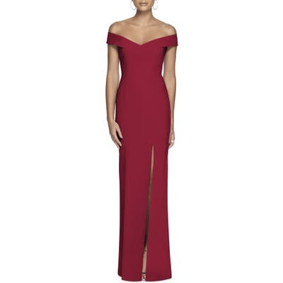 Dessy Collection Off The Shoulder Crossback Gown, 8 (similar to 1) - Red