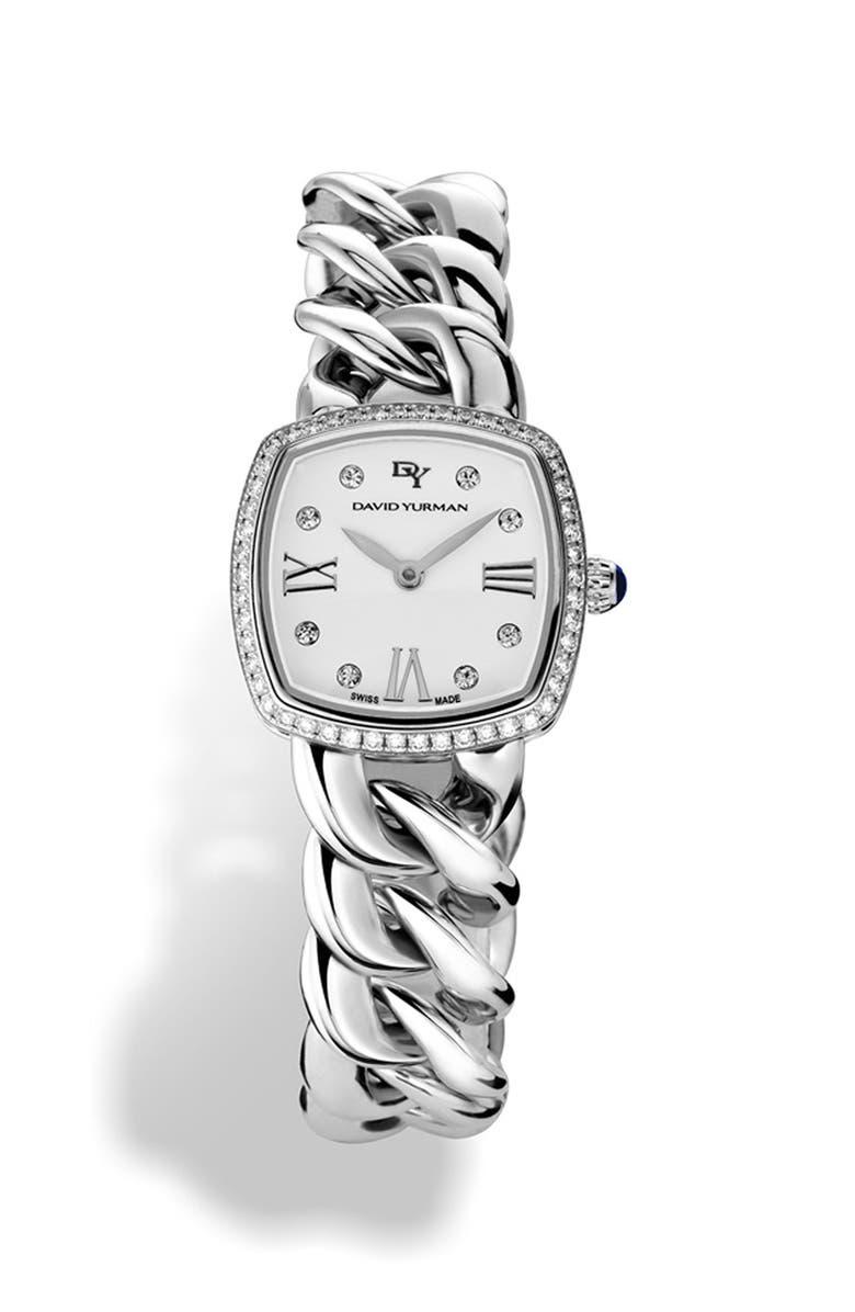 DAVID YURMAN 'Albion' 23mm Stainless Steel Quartz Watch with Diamonds, Main, color, SILVER