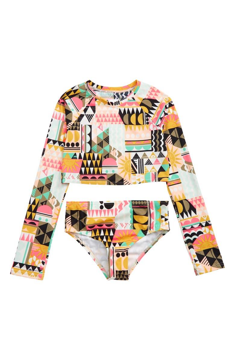 BILLABONG Mod Love Two-Piece Rashguard Swimsuit, Main, color, 001