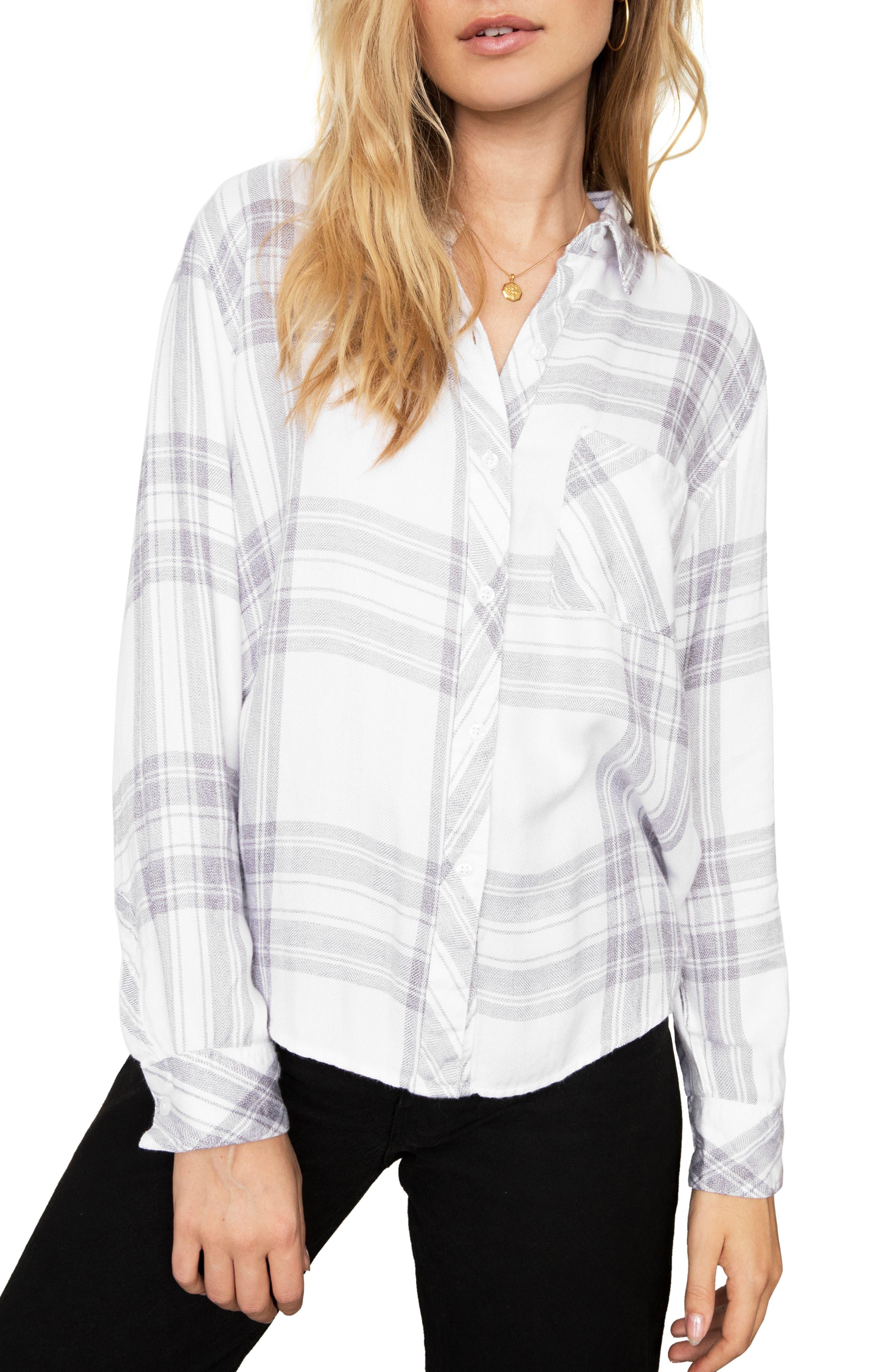 Hunter Plaid Shirt, Main, color, WHITE PEPPER