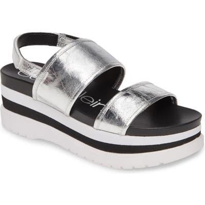 Calvin Klein Nola Platform Slingback Sandal, Metallic