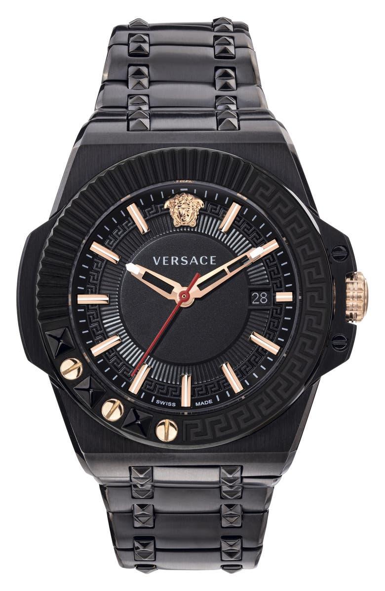 VERSACE Chain Reaction Bracelet Watch, 45mm, Main, color, BLACK