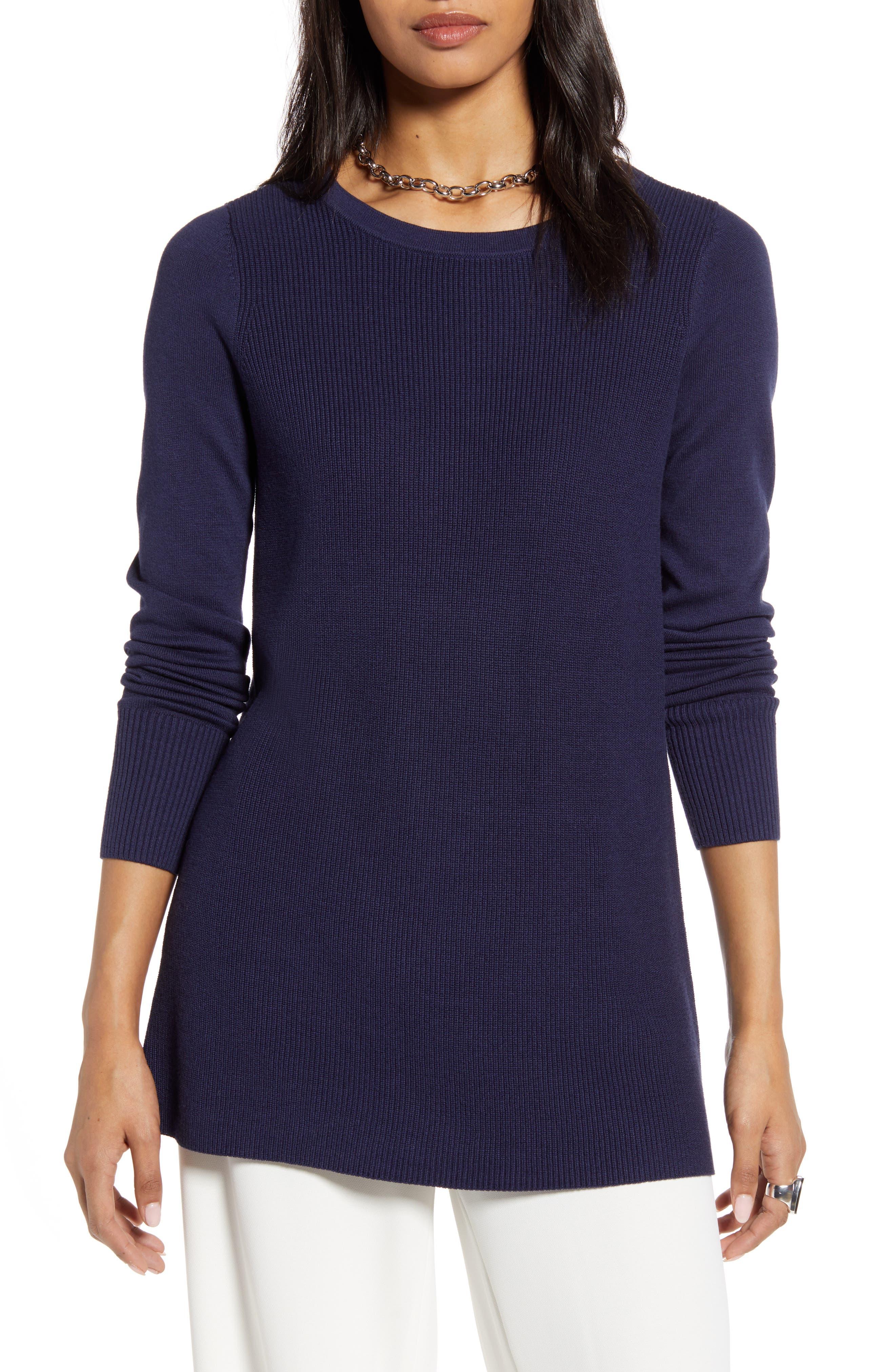Halogen® Split Back Tunic Sweater (Regular & Petite)