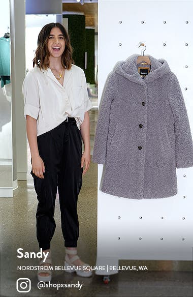 Hooded Faux Shearling Teddy Coat, sales video thumbnail