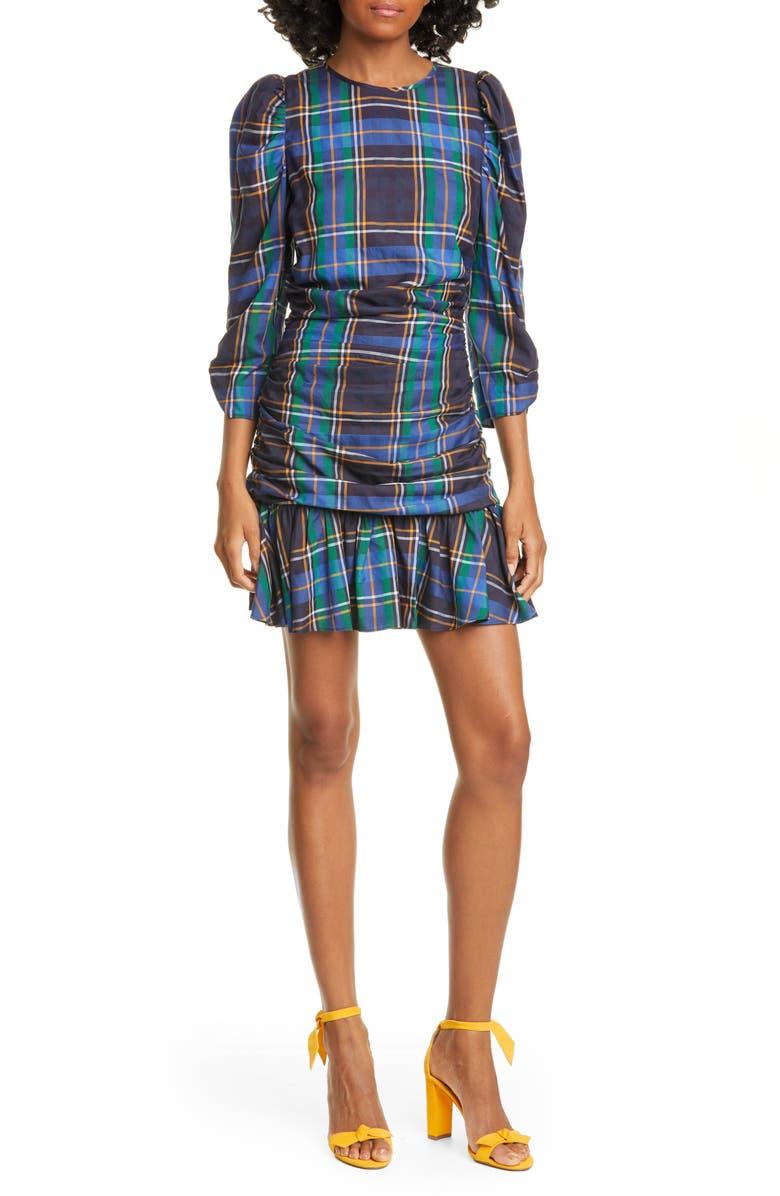 TANYA TAYLOR Raven Plaid Puff Sleeve Mini Dress, Main, color, BLUE PLAID