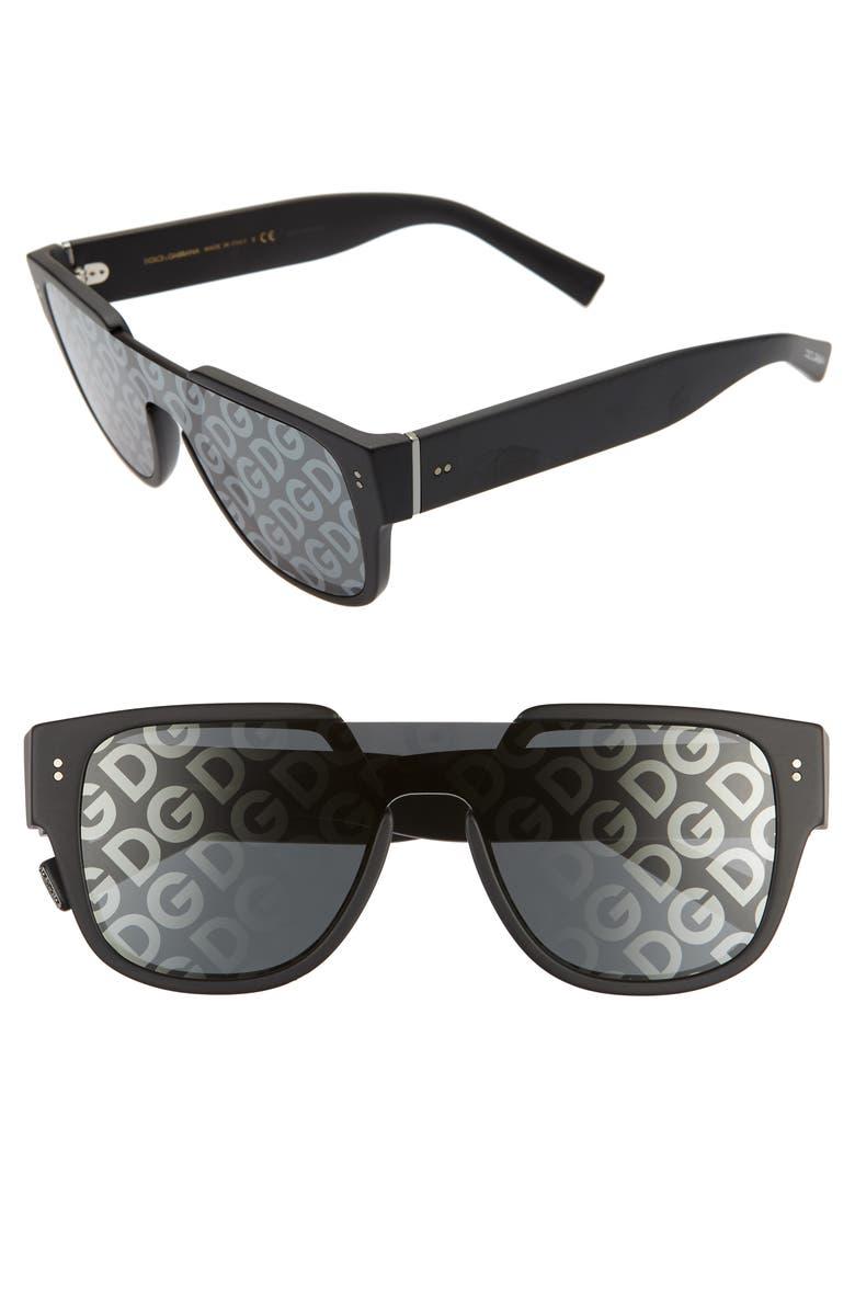 DOLCE&GABBANA 50mm Shield Lens Sunglasses, Main, color, MATTE BLACK/ GREY TAMPO SOLID