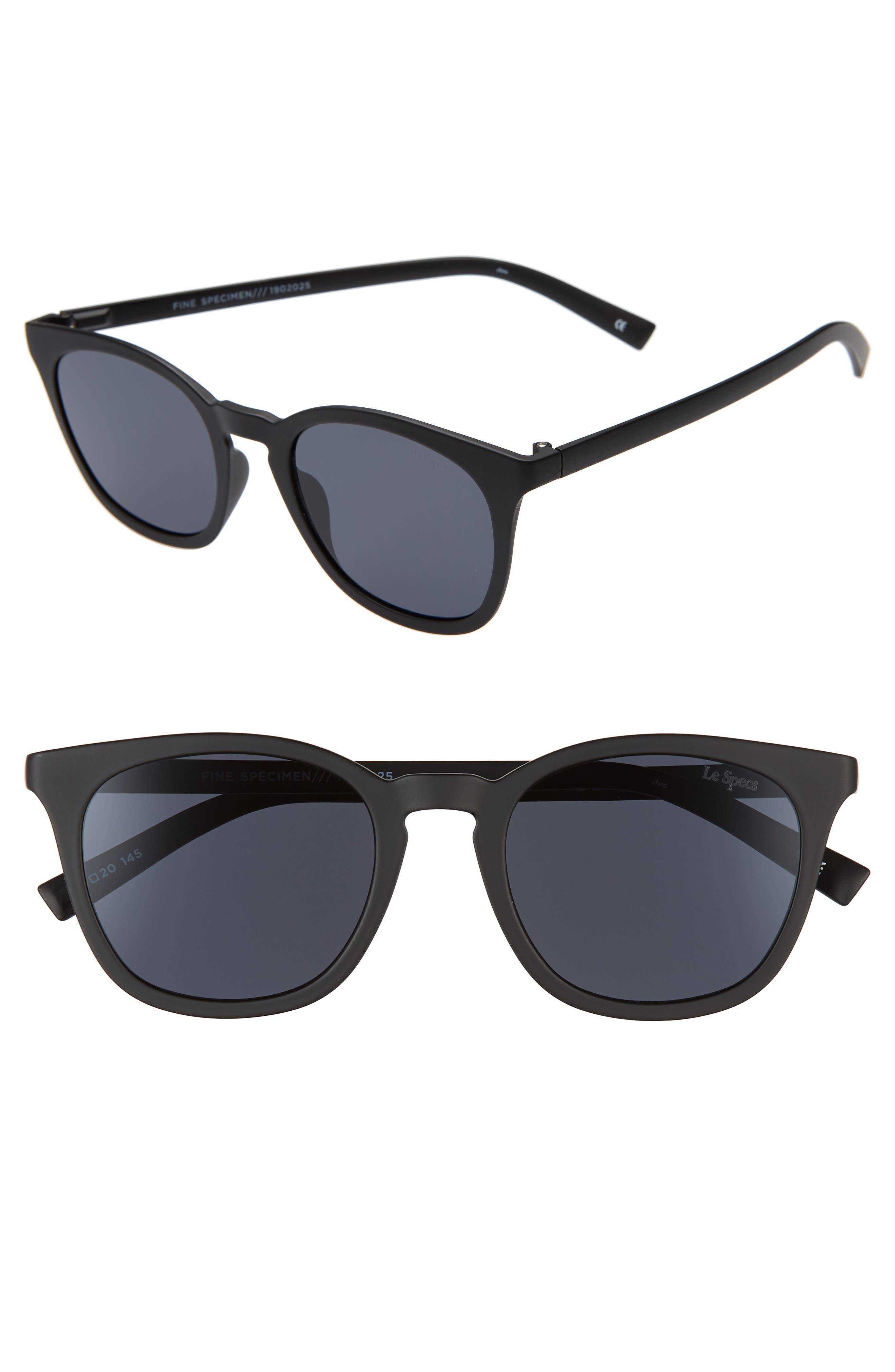 Le Specs Fine Specimen 51Mm Square Sunglasses - Matte Black/ Smoke