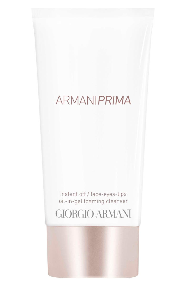 GIORGIO ARMANI Prima Instant Off Face, Eyes & Lips Oil-in-Gel Foaming Cleanser, Main, color, NO COLOR