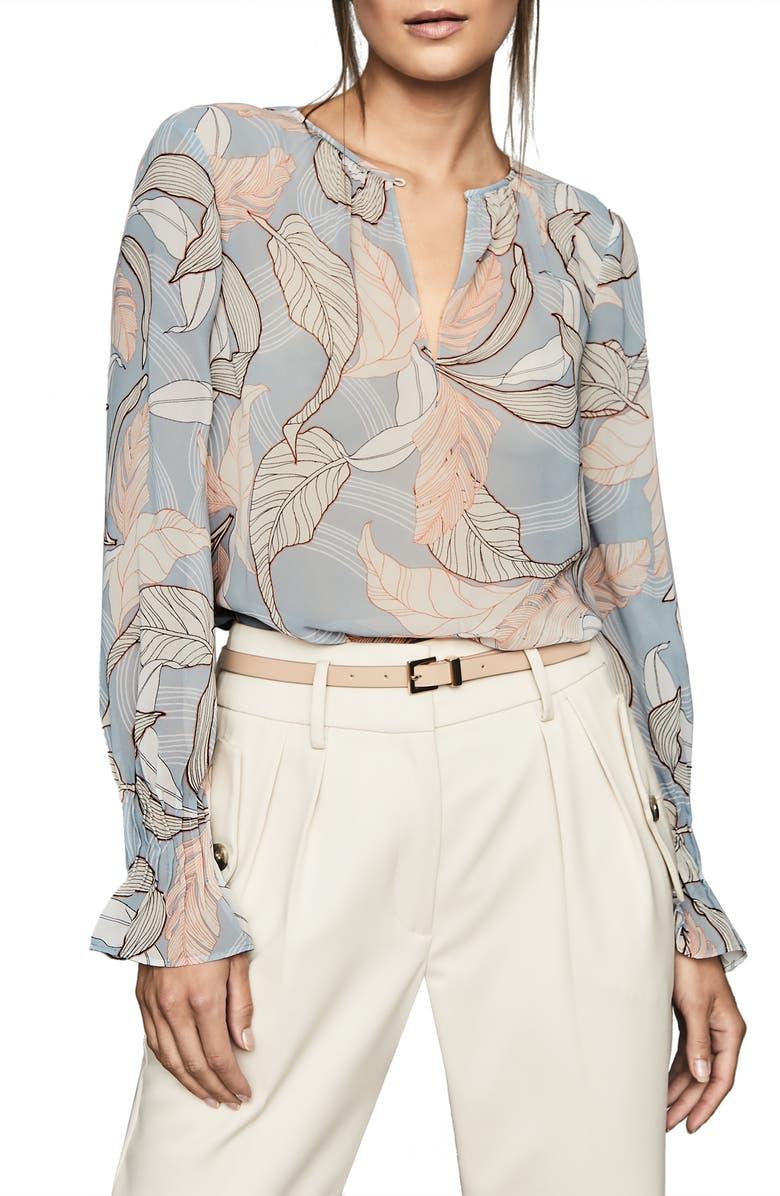REISS Hazel Leaf Print Blouse, Main, color, BLUE
