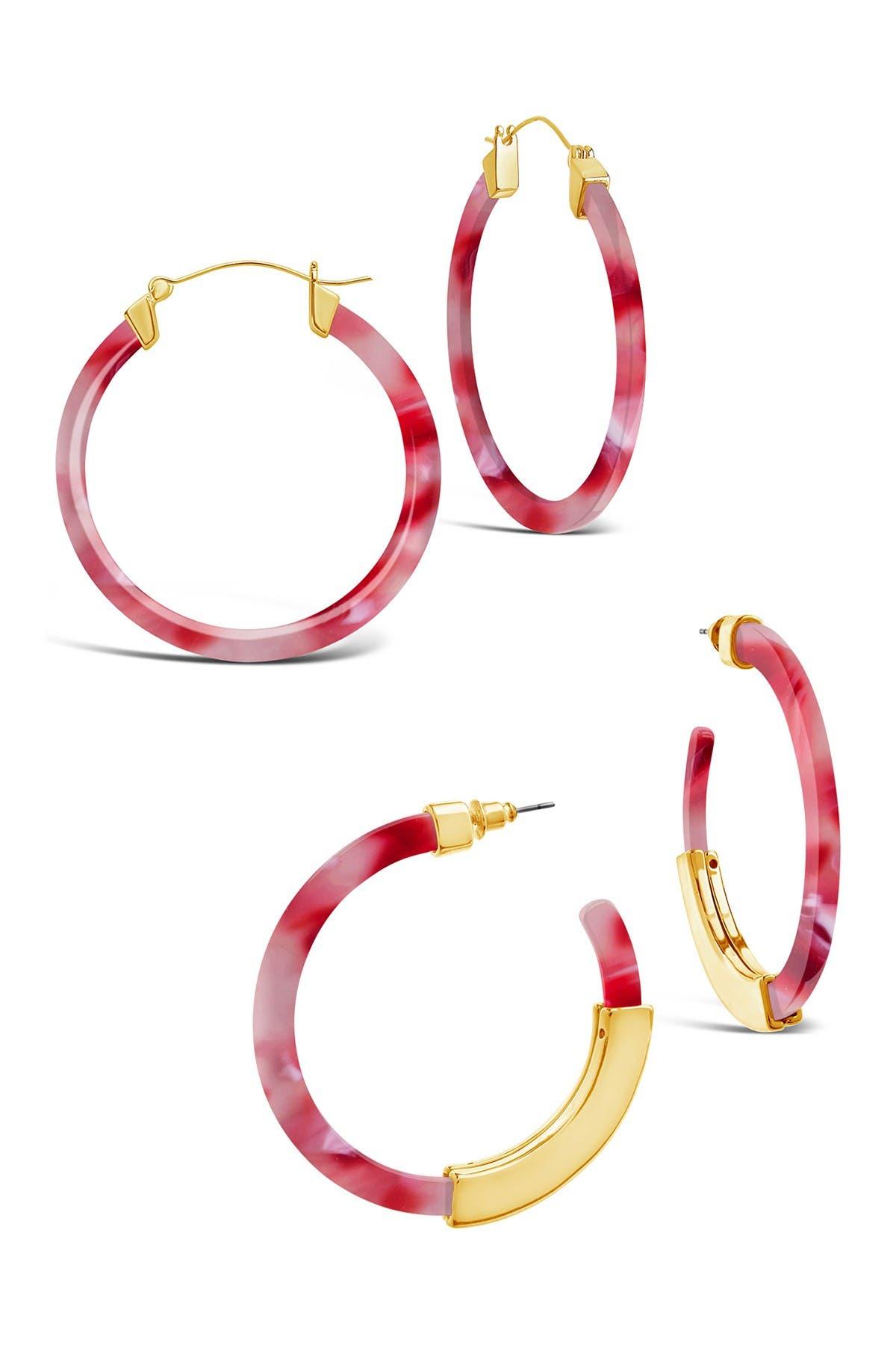 Image of Sterling Forever Strawberry Resin 50mm Hoop Earrings - Set of 2