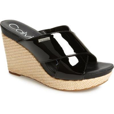 Calvin Klein Jacolyn Wedge Slide Sandal- Black