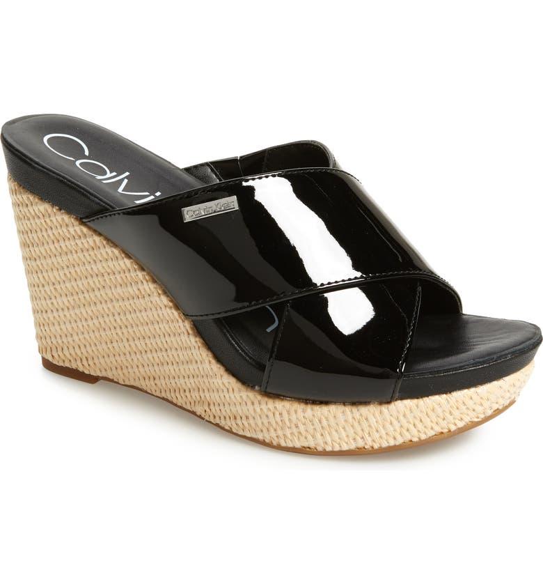 CALVIN KLEIN Jacolyn Wedge Slide Sandal, Main, color, BLACK LEATHER