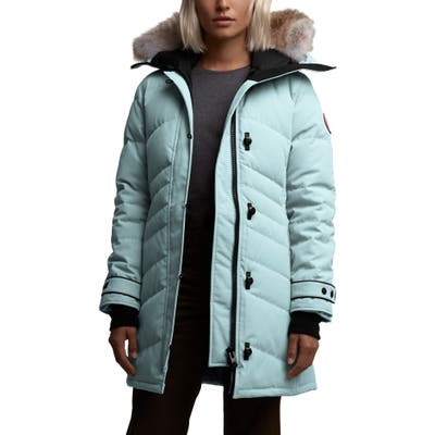 Canada Goose Lorette Fusion Fit Hooded Down Parka With Genuine Coyote Fur Trim, (2-4) - Blue