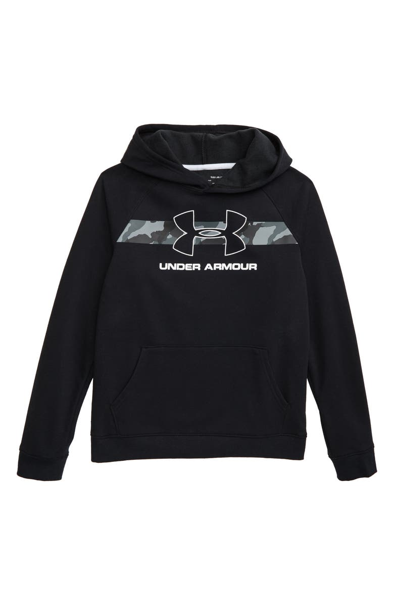 UNDER ARMOUR Rival ColdGear<sup>®</sup> Hoodie, Main, color, BLACK/ WHITE