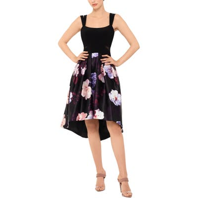 Xscape Floral Double Strap High/low Cocktail Dress, Black