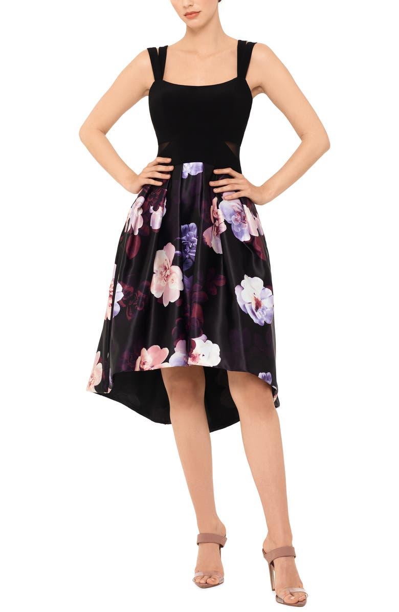 XSCAPE Floral Double Strap High/Low Cocktail Dress, Main, color, BLACK/ MULTI