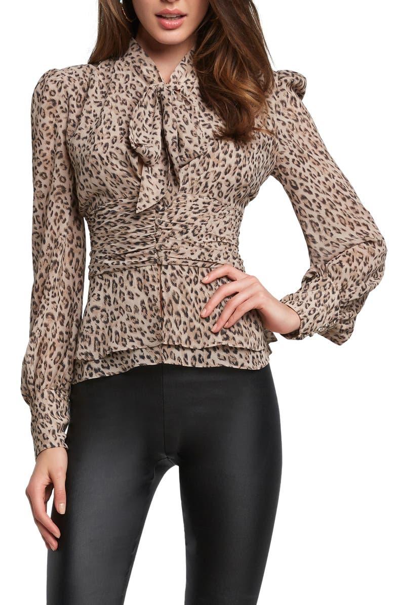 BARDOT Leopard Print Tie Neck Blouse, Main, color, 298